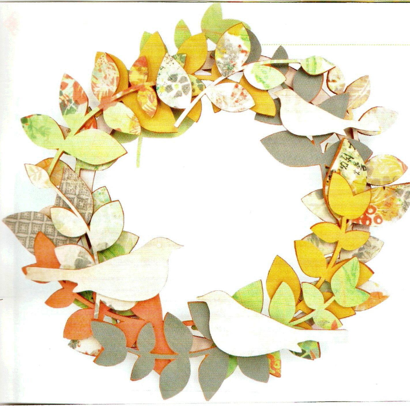 How to scrapbook materials - Assemble This Bird Wreath But Use Your Favorite Scrapbook Paper Some Paint Even A Touch Of Glitter To Decorate