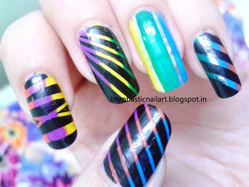 Colorful Striping Tape Nail Art – Bombastic Nail Art