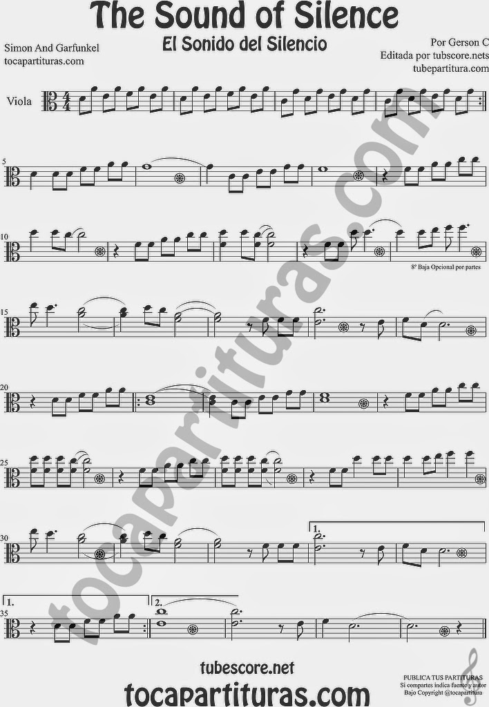 The Sound of Silence Partitura de Viola Sheet Music for Viola Music Score El Sonido del Silencio
