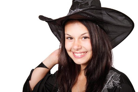 adult in witch costume