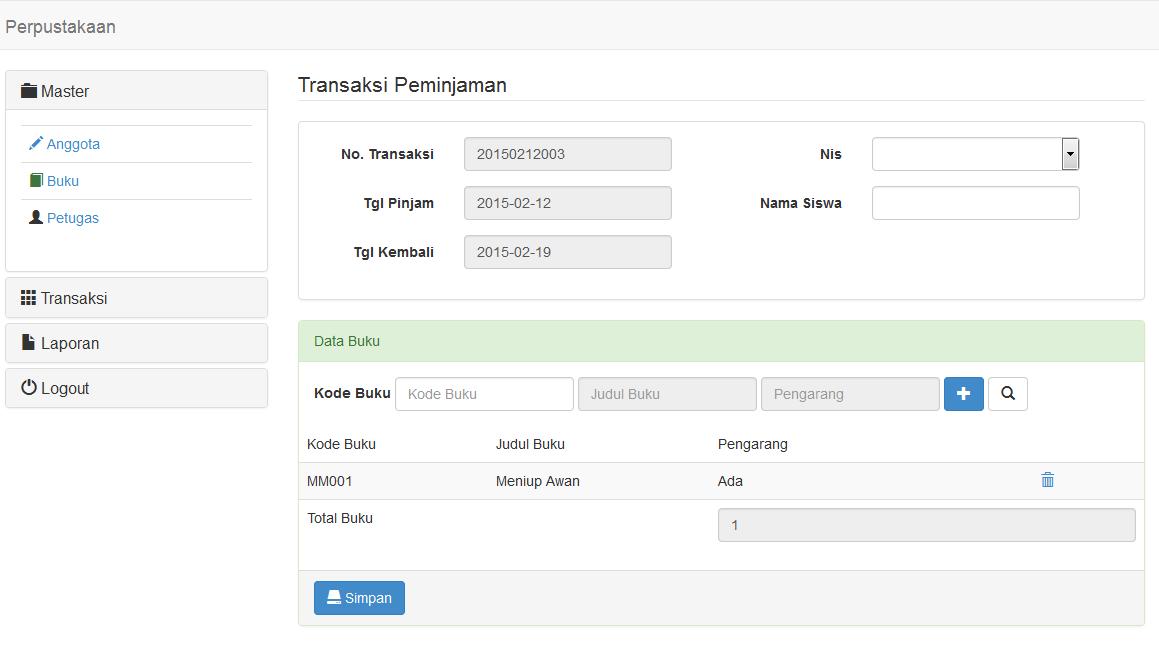 Sistem Informasi Perpustakaan Berbasis Web PHP dan Mysql