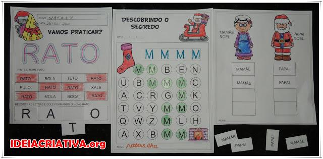 Atividades Natalinas Linguagem com letras e palavras