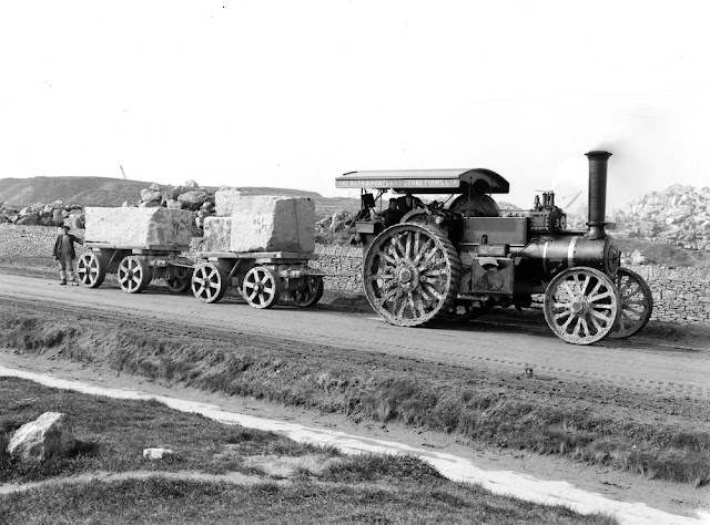 Easton, Portland. Looking SW. Transport of Portland Stone from quarries. Much stone is shipped from Portland and blocks up to 10 tons in weight are drawn by traction engine