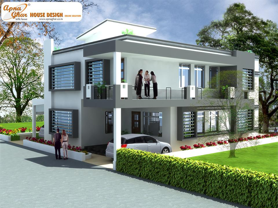 Modern beautiful duplex house design home design elements for Duplex house india