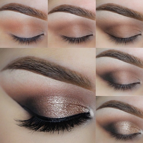 Makeup Geek eyeshadows in Creme Brûlée, Latte, Mocha, Corrupt, and Makeup Geek Afterglow Pigment. 👉Check out our site for full details on how to recreate this look