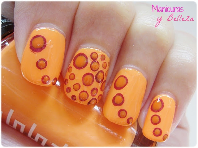 orange nails nail art dots kiko masglo manicura naranja puntos rellenos rojo red circulos