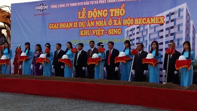 Lễ động thổ giai đoạn 2 dự án nhà ở xã hội Becamex khu Việt Sing