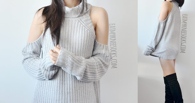 A cozy fall/winter outfit featuring SheIn's oversized cold shoulder cutout gray turtleneck sweater dress and suede over-the-knee Vince Camuto boots.