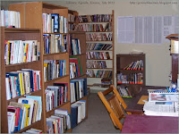 Agenda's small library in the bank building