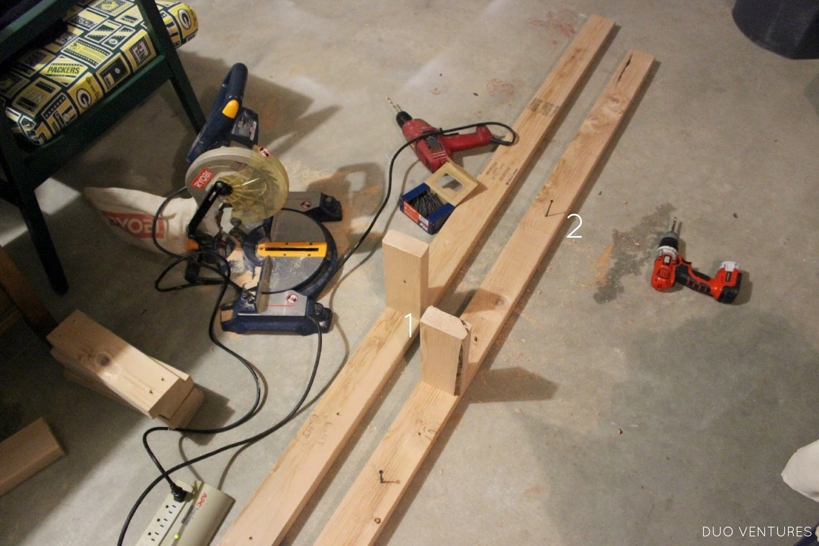 pre-drilled some holes in the long boards (to attach them to the ...