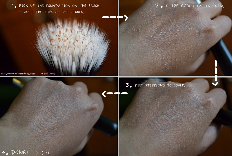 mac 187 makeup brush duo fibre stippling foundation application technique blog reviews use