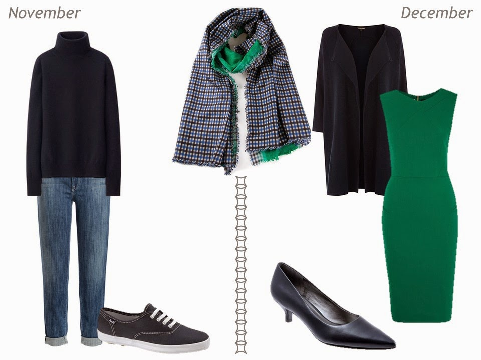 navy and green outfits for autumn and winter November and December