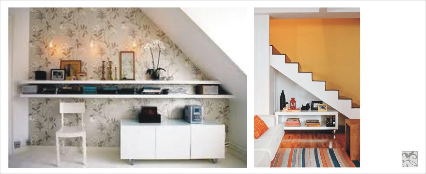 decoracao de interiores de baixo custo: embaixo da escada, passa de inútil para ter um destaque em sua sala