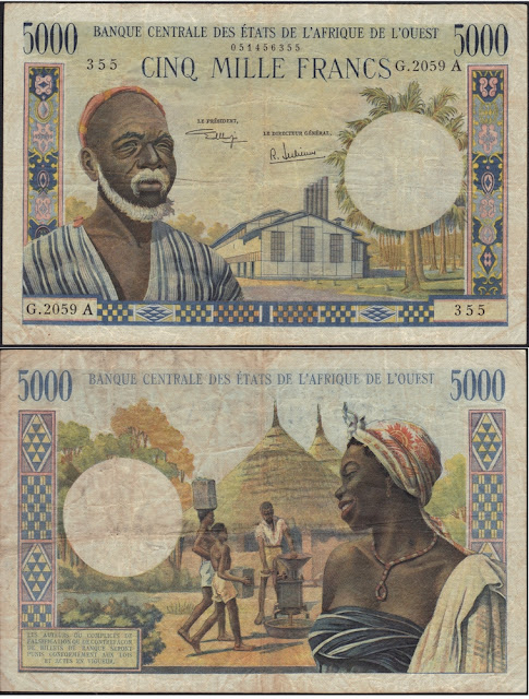 West African States 5000 Francs P #104Ah - A for Ivory Coast