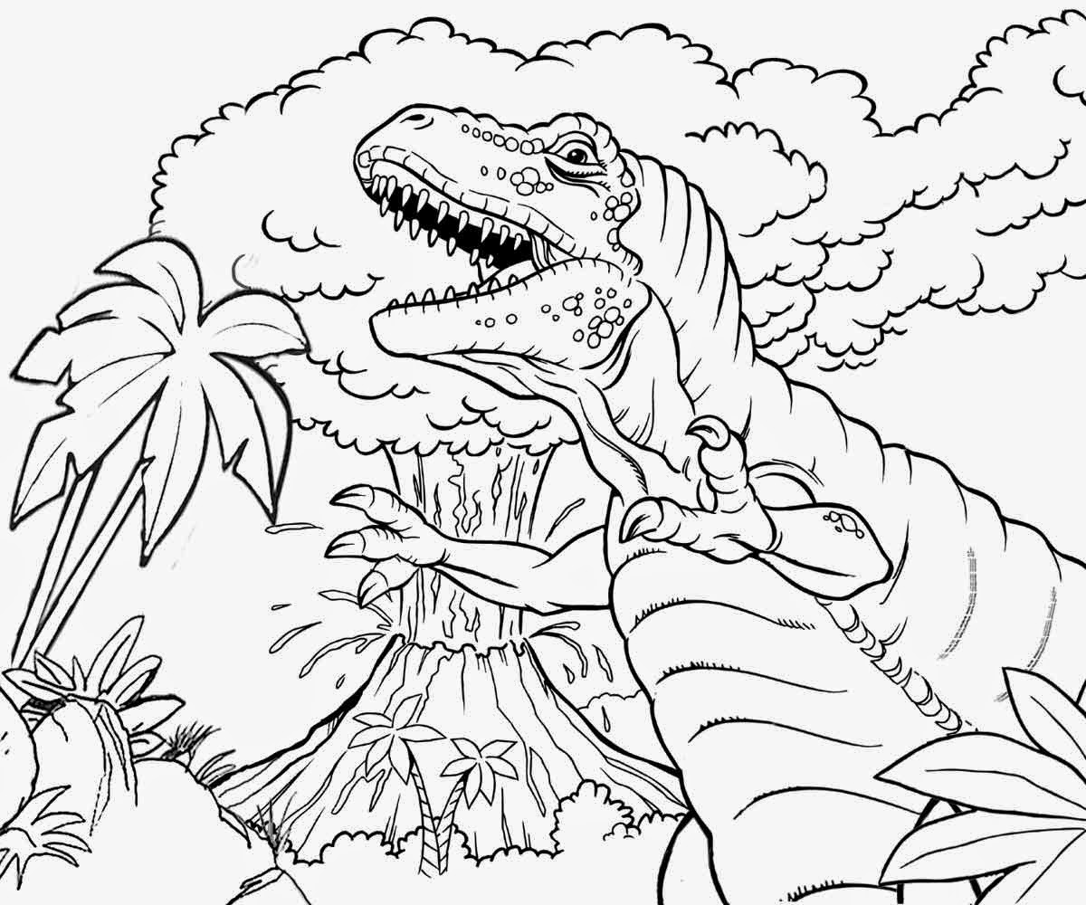 Tropical Jungle Plants Angry Jurassic King Tyrannosaurus Dinosaur And Volcano Erupting Coloring Pics
