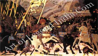 """The Great Artist Paolo Uccello Painting """"The Battle of San Romano"""" c.1456-60 71 ½"""" x 125 ½"""" National Gallery, London"""