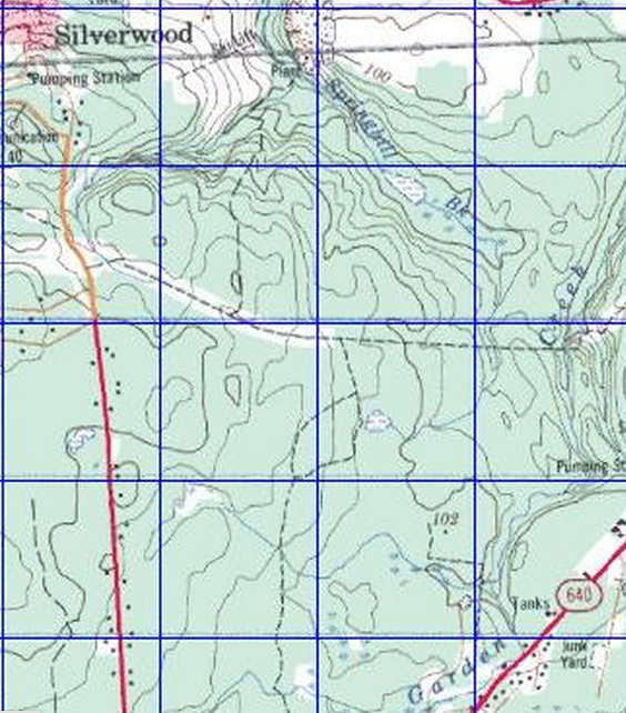 Topo map grid