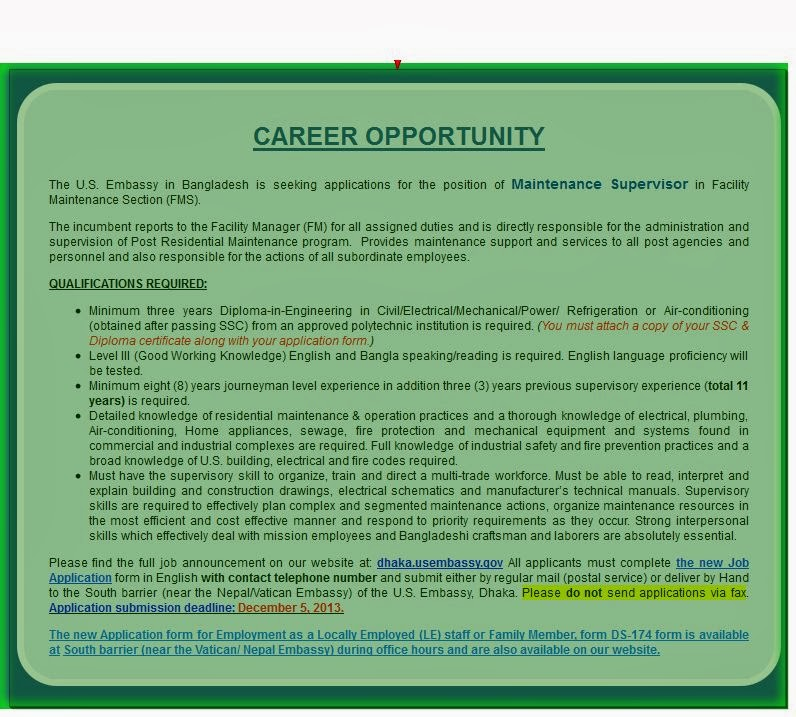 Us embassy career maintenance supervisor jobs city today for Consulate jobs