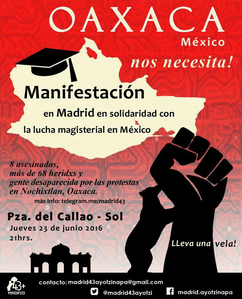 23 junio Solidaridad con los enseñantes de Mexico