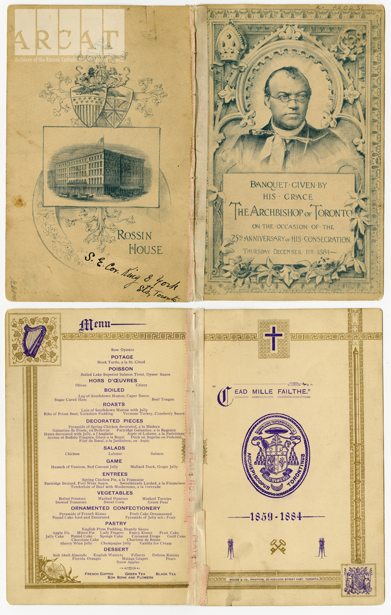 Menu of Archbishop Lynch's banquet on the occasion of the 25th anniversary of his consecration, held at Rossin House, Toronto.