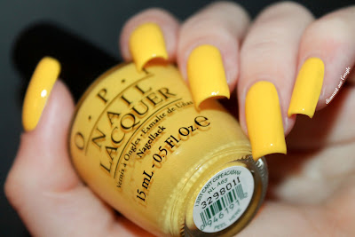 """Swatch of the yellow nail polish  """"I Just Can't Cope-Acabana"""" from O.P.I."""