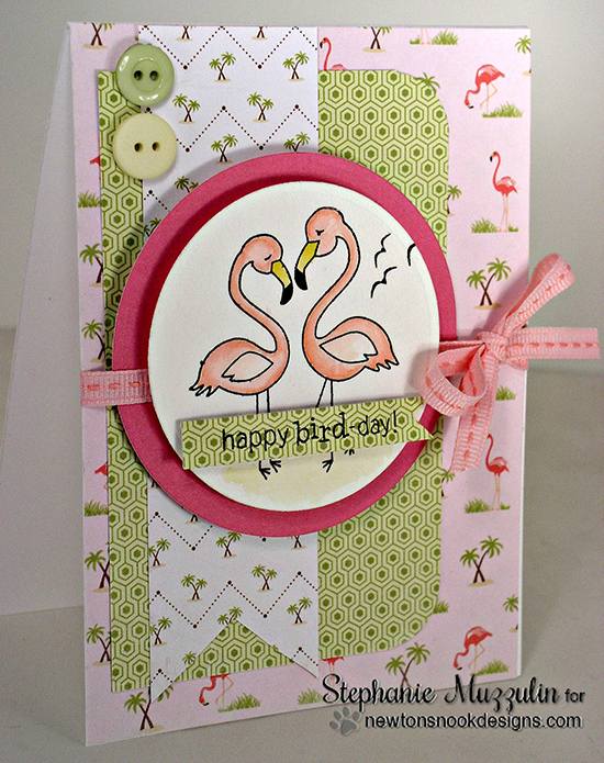 Happy Bird-Day Flamingo Card by Stephanie Muzzulin | Flirty Flamingos Stamp set | Newton's Nook Designs