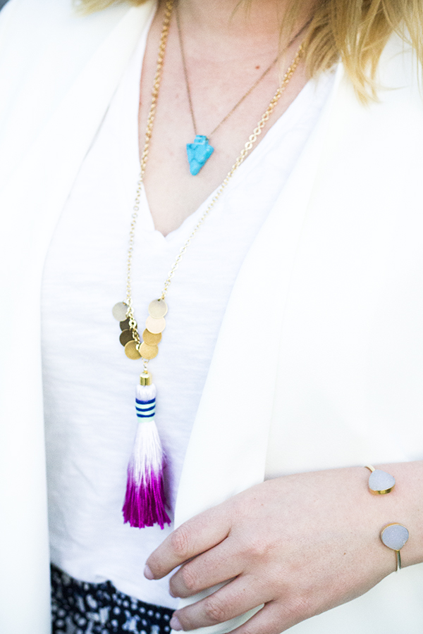 pink dip dye tassel necklace