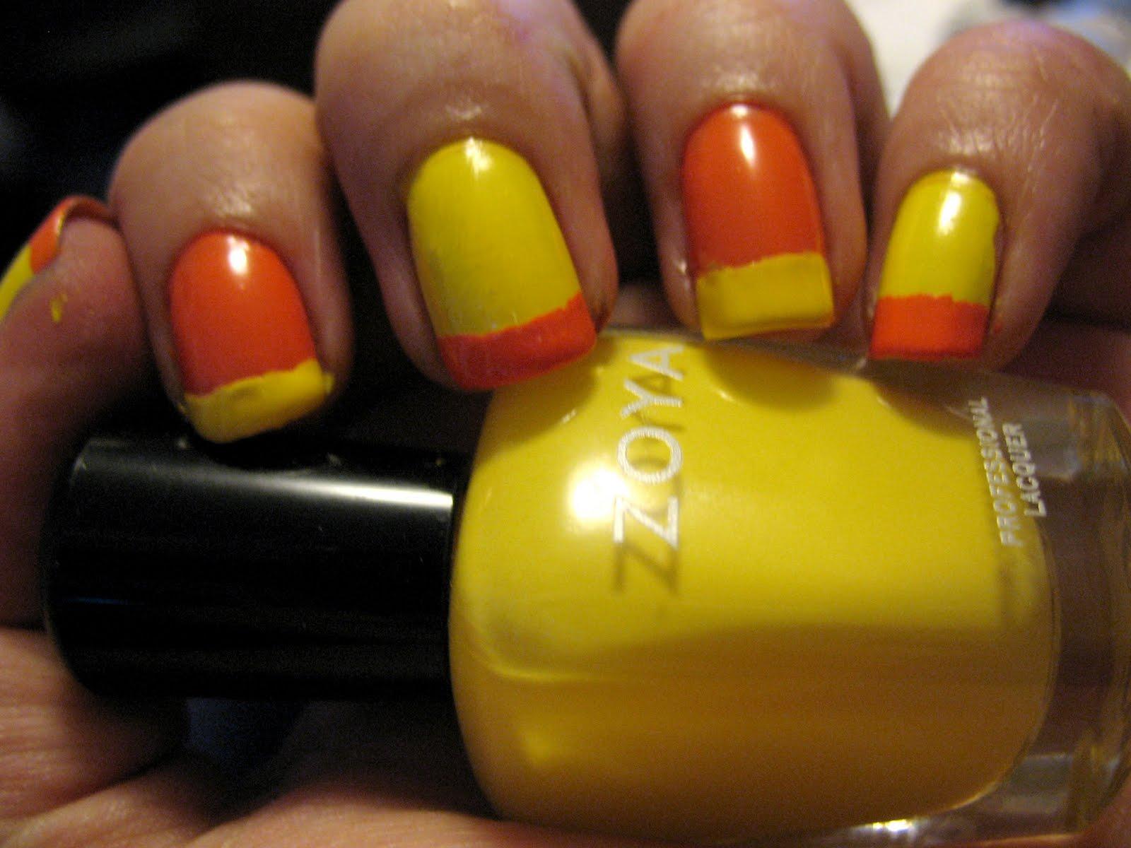 Маникюр оранжевый с желтым фото