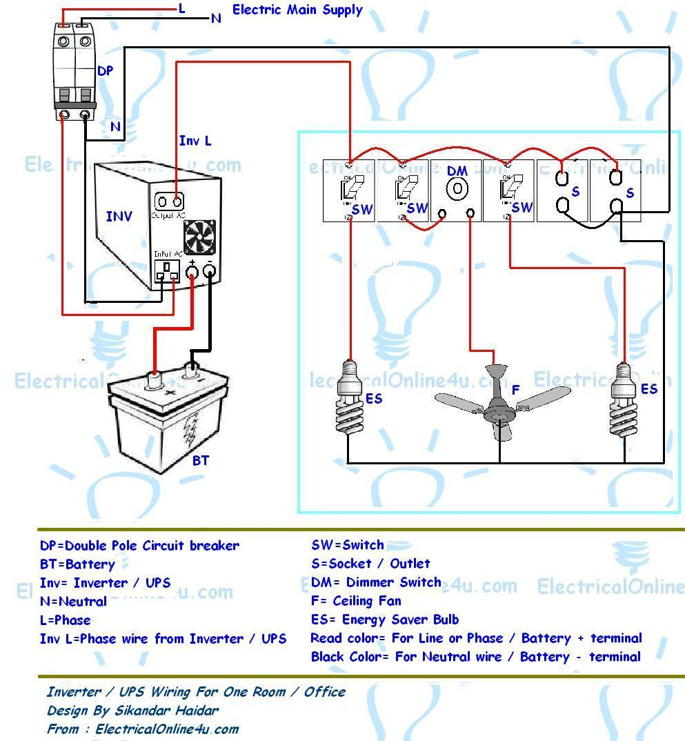House Wiring Diagram With Inverter : Ups inverter wiring diagram for one room office