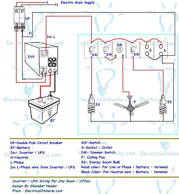 Home Wiring Diagram For Ups : Ups inverter wiring diagram for one room office