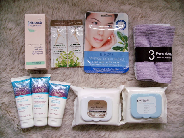 Facial Skincare ( Johnson's Oil Balancing Light Day Fluid, Face Food Gensing and Jasmine Sauna Face Masks x 2 6ml, Elements Spa Therapy Renewal Moisturizing Face and Neck Mask,  3 x Microfibre Face Cloths, Creightons Perfectly Clear Facial Scrub, Creightons Perfectly Clear Face Wash, Creightons Perfectly Clear Mattifying Moisturiser, Spa Premium 4 in 1 Cleansing Wipes with Ceramide and Boots No 7 Beautiful Skin Quick Thinking Face Wipes).