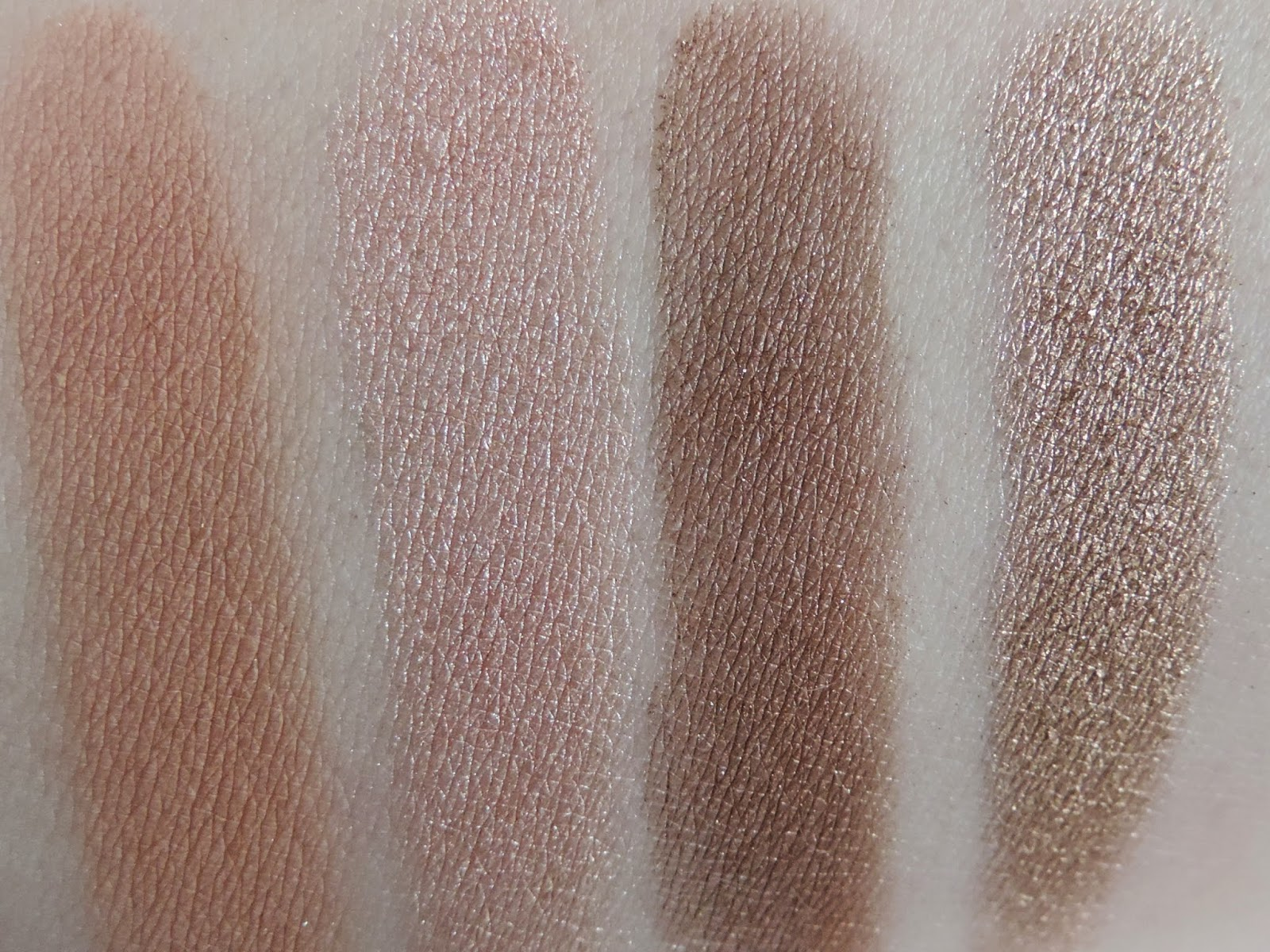 Swatches from left: Salted Caramel, Marzipan, Hazelnut, Creme Brulee