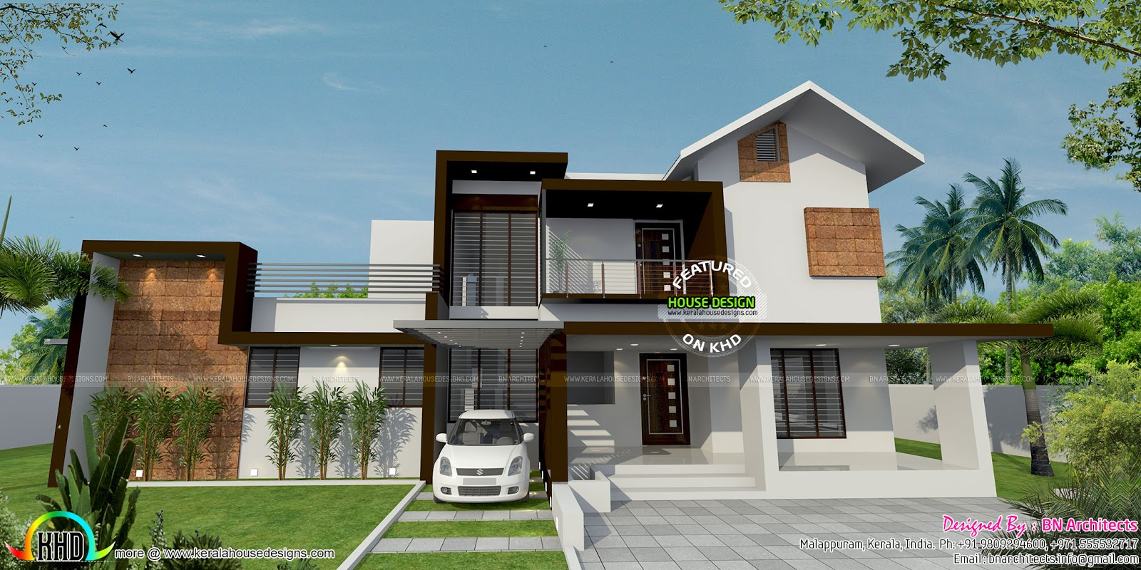 Floor plan and elevation by bn architects kerala home for Home plan elevation