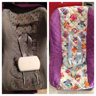 DIY - Baby seat cover before & after