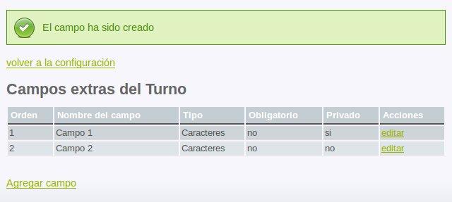 Campos extras del turno/cita (2 campos)