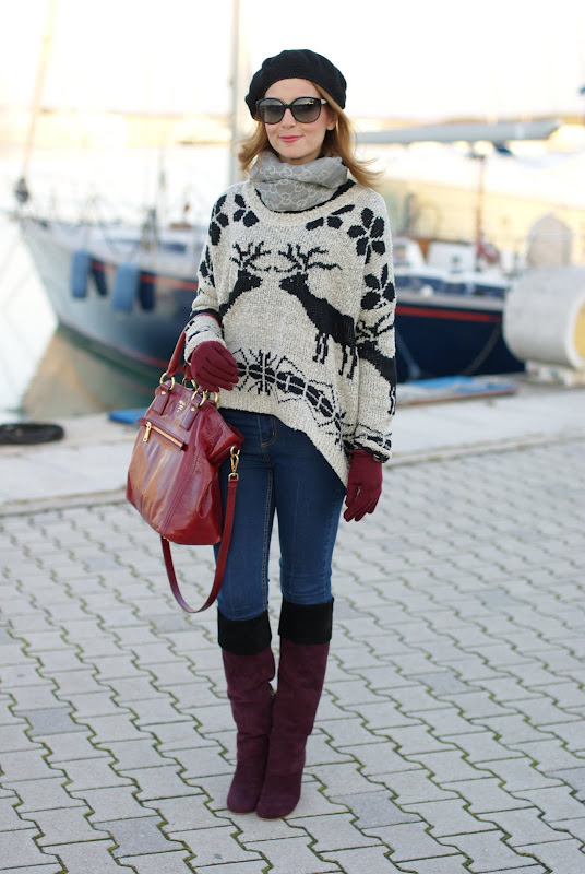 deer print sweater, Miu Miu boots, Prada bag