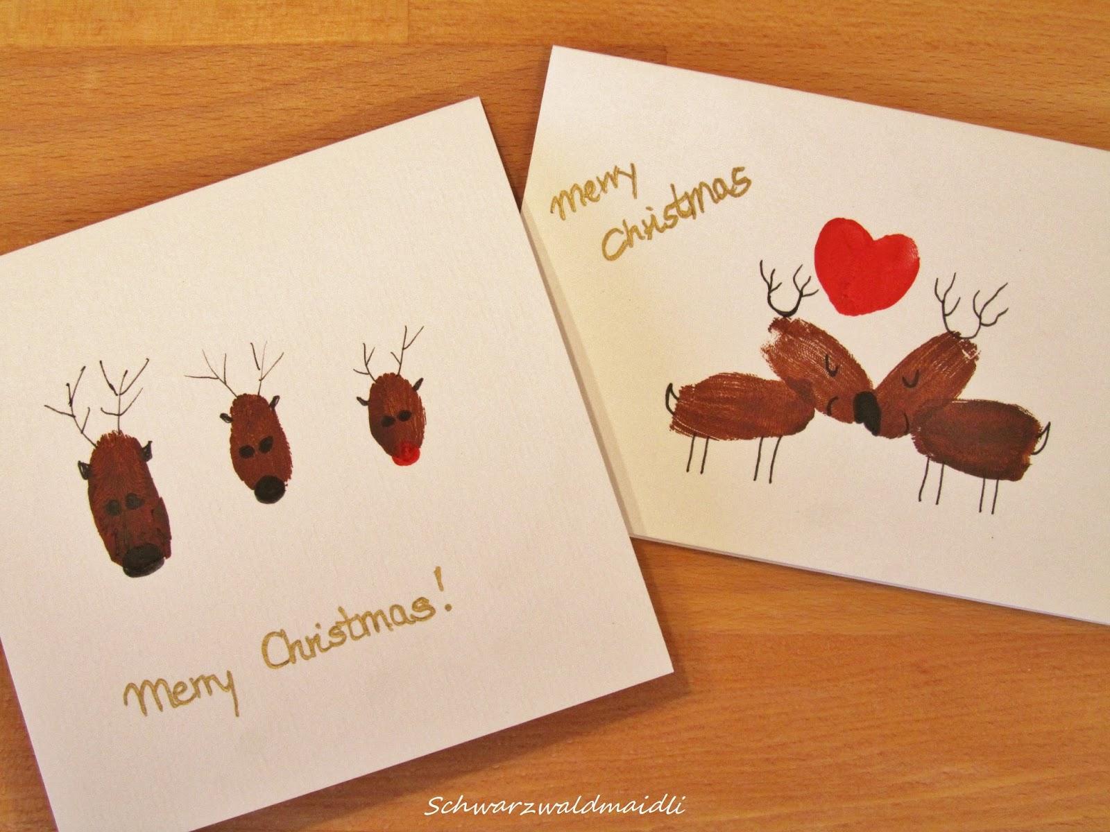 Schwarzwaldmaidli diy weihnachtskarten mit fingerabdruck for Weihnachtskarten basteln kinder