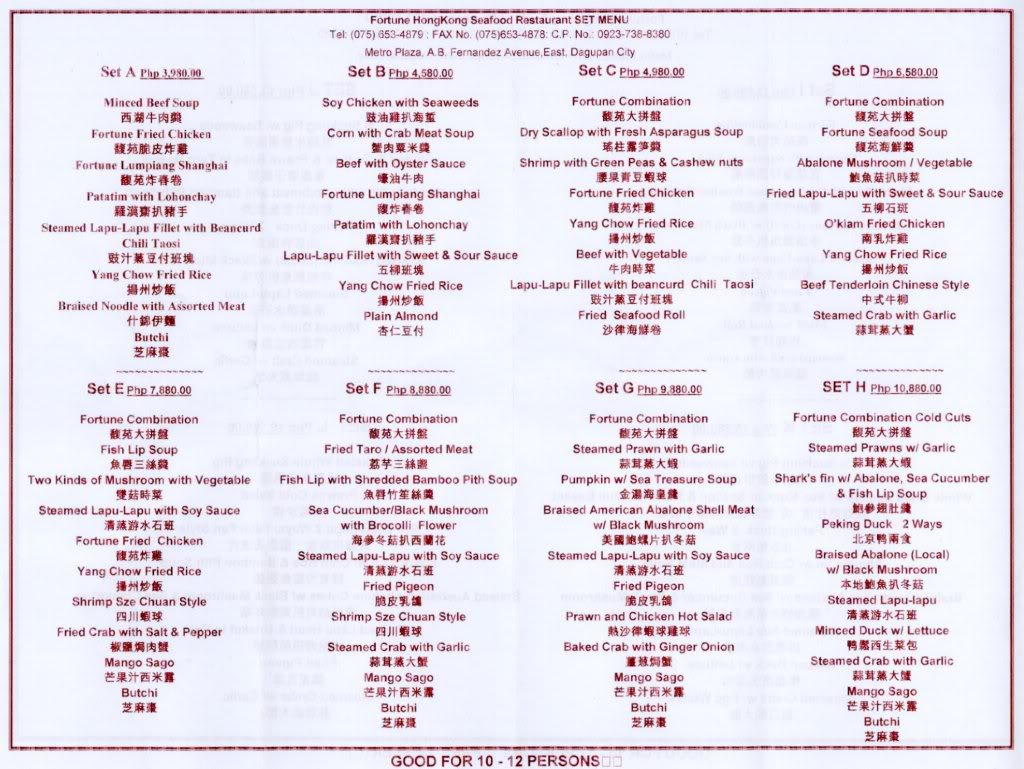 Fortune Restaurant Menu Philippines
