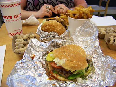 Five guys burgers, Cajun fries, peanuts and Drink!
