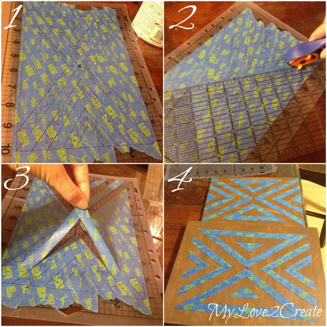 creating geometric pattern with painter's tape