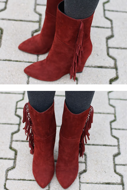 Isabel Marant lookalike fringed boots, Gaia d'Este suede fringe boots, Fashion and Cookies, fashion blogger