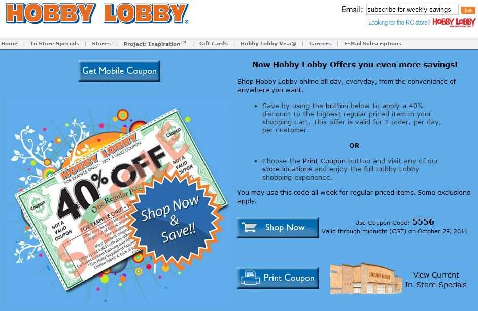 hobby lobby coupon mobile