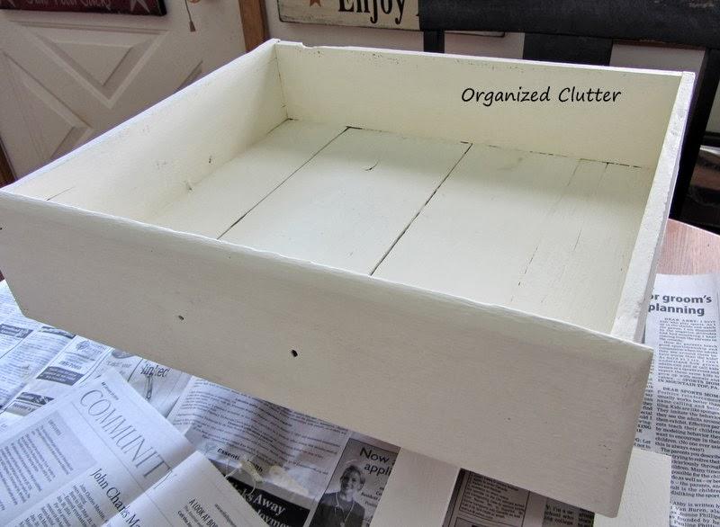 Re-purposing an Old Drawer into a Display Shelf www.organizedclutterqueen.blogspot.com