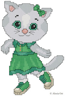Free cross-stitch patterns, Katerina Kittycat, cat, animal, Daniel Tiger's Neighborhood, cartoon, cross-stitch, back stitch, cross-stitch scheme, free pattern, x-stitchmagic.blogspot.it, вышивка крестиком, бесплатная схема, punto croce, schemi punto croce gratis, DMC, blocks, symbols, patrones punto de cruz