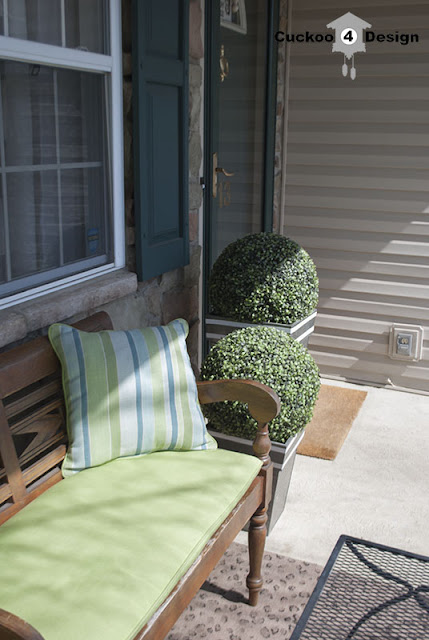 front porch with lime green accents