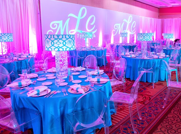 Bat Mitzvah illuminated decor