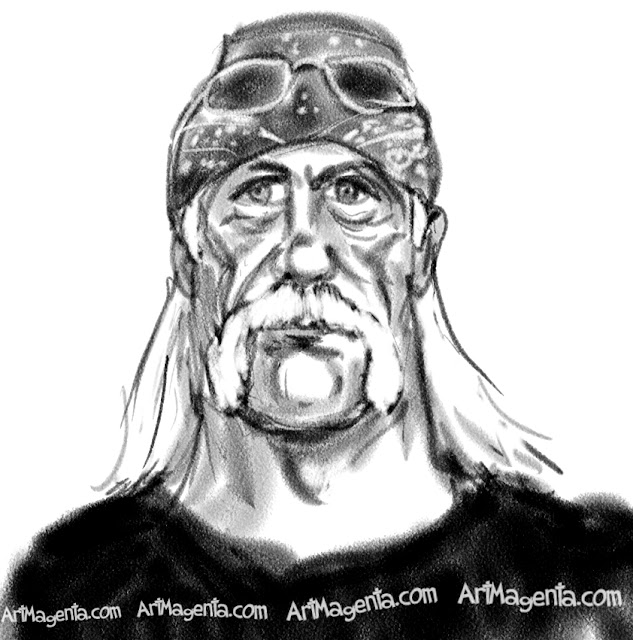 Hulk Hogan is a caricature by caricaturist Artmagenta