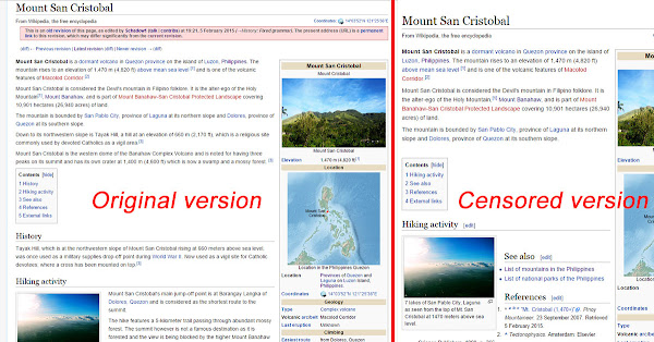 Mount San Cristobal article censorship in Wikipedia
