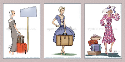 etiquetas de equipaje moda retro