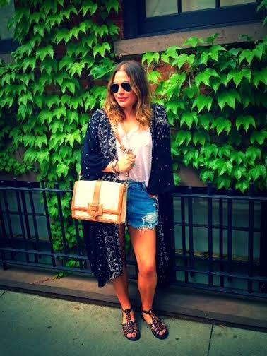 NYC fashion bloggers, NYC streetstyle, black kimono Urban Outfitters, best sucker style casual, Urban cut off high waist shorts, Levi's high-waist cutoff shorts, black Topshop studded sandals, Brahmin shoulder bag, python shoulder crossbody purse, how to wear high waist shorts, how to wear kimono, New York City blogger fashionista